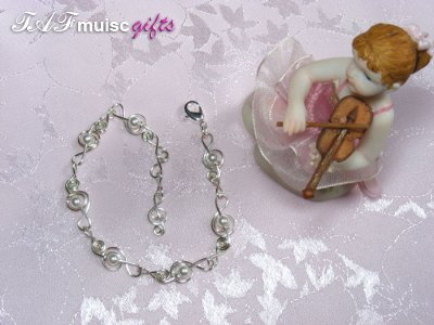 Swarovski white pearl treble clef music themed bracelet