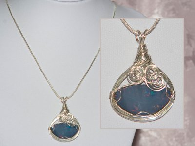 Swirls design opal doublet handmade necklace