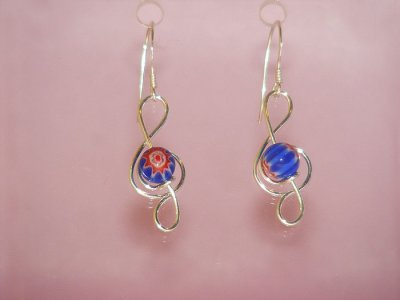 Treble clef blue lampwork glass earrings