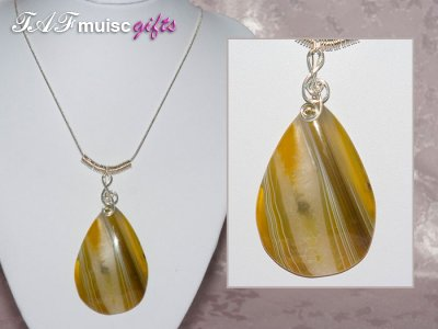 Yellow Agate music themed necklace